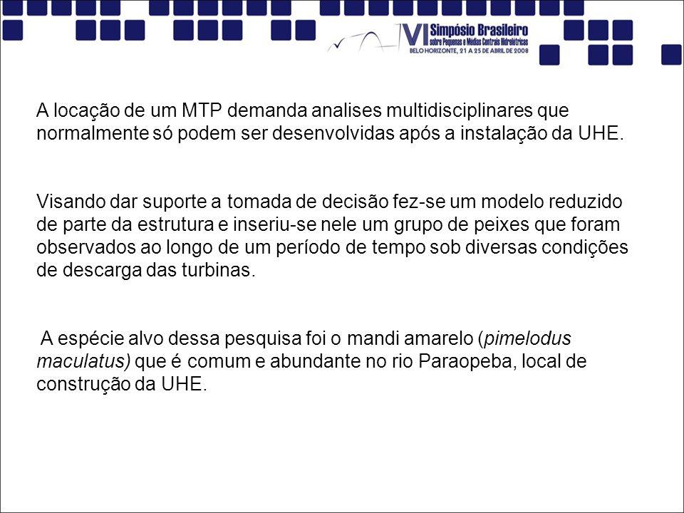 A locação de um MTP demanda analises multidisciplinares que normalmente só podem ser desenvolvidas após a instalação da UHE. Visando dar suporte a tom