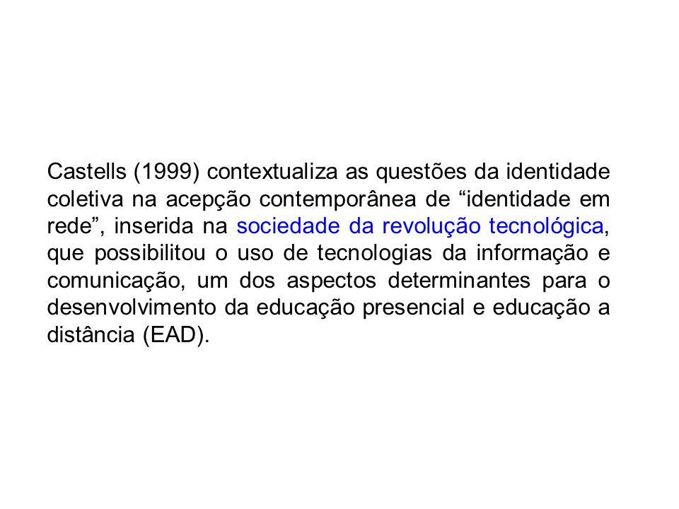 Castells (1999) contextualiza as questões da identidade coletiva na acepção contemporânea de identidade em rede, inserida na sociedade da revolução tecnológica, que possibilitou o uso de tecnologias da informação e comunicação, um dos aspectos determinantes para o desenvolvimento da educação presencial e educação a distância (EAD).