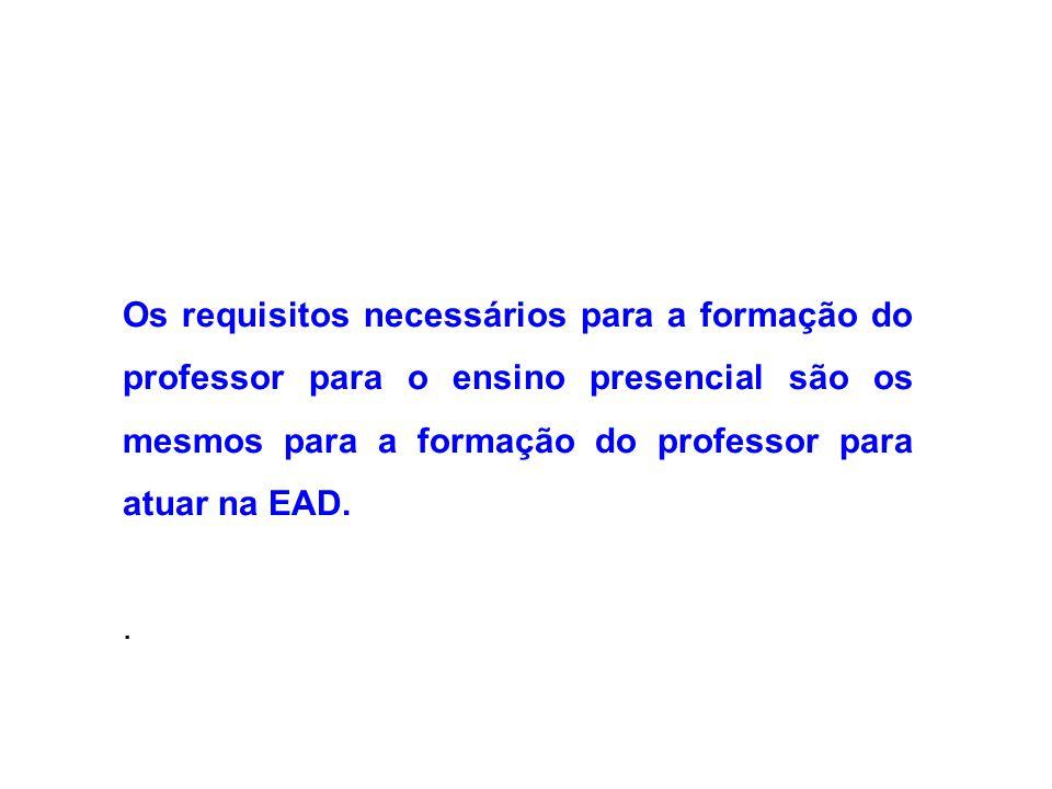 Os requisitos necessários para a formação do professor para o ensino presencial são os mesmos para a formação do professor para atuar na EAD..
