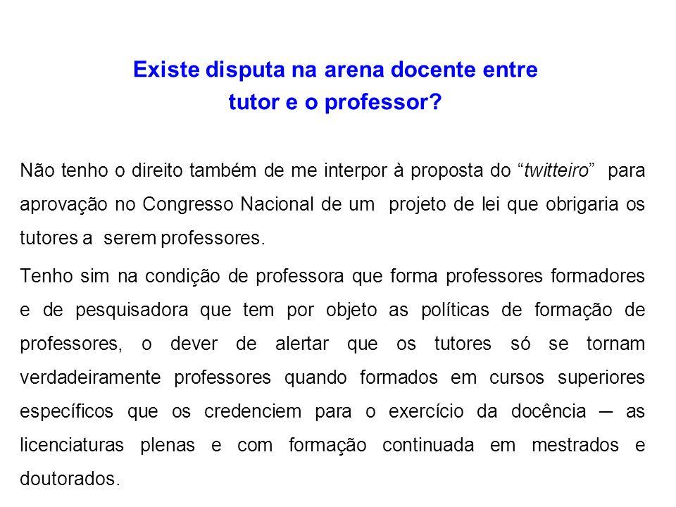 Existe disputa na arena docente entre tutor e o professor.