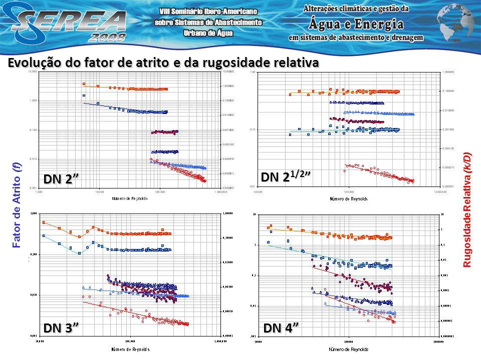 Rugosidade Relativa (k/D) DN 2 DN 2 1/2 DN 2 1/2 DN 3 DN 4 Fator de Atrito (f) Evolução do fator de atrito e da rugosidade relativa