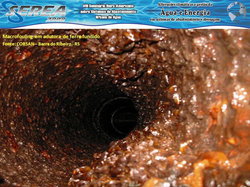 Macrofouling em adutora de f.ºf.º Fonte: CORSAN. Barra do Ribeiro - RS Macrofouling