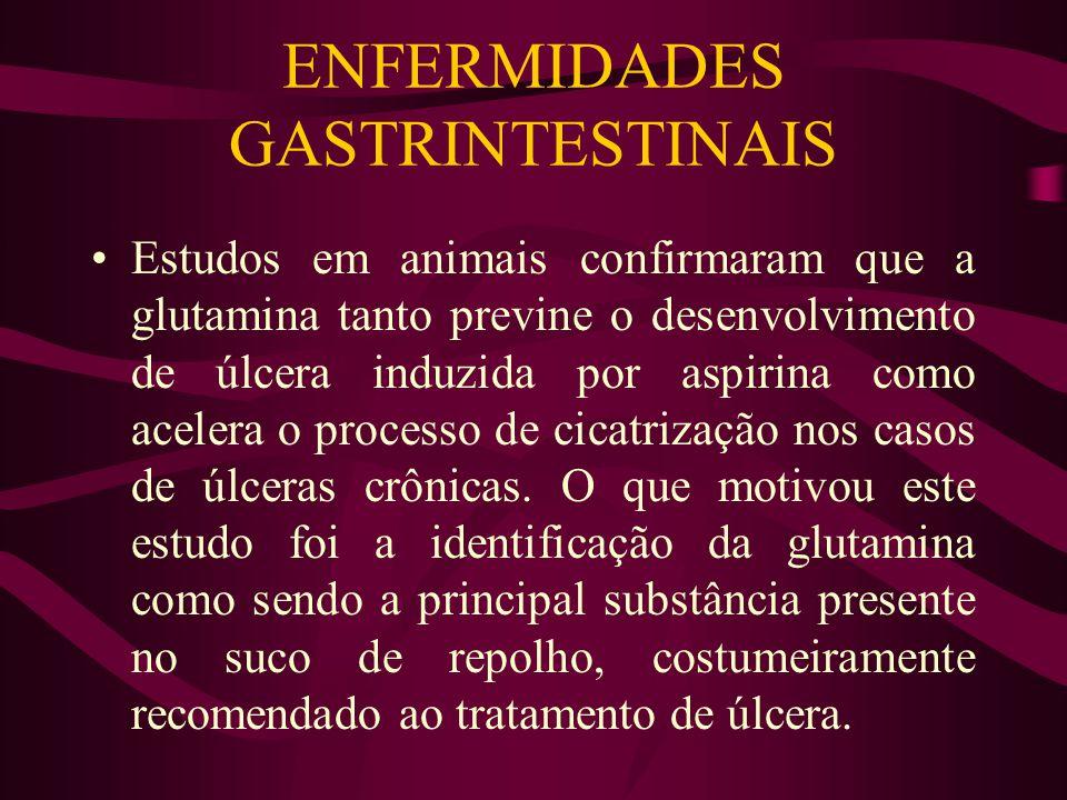 ENFERMIDADES GASTRINTESTINAIS Estudos em animais confirmaram que a glutamina tanto previne o desenvolvimento de úlcera induzida por aspirina como acelera o processo de cicatrização nos casos de úlceras crônicas.