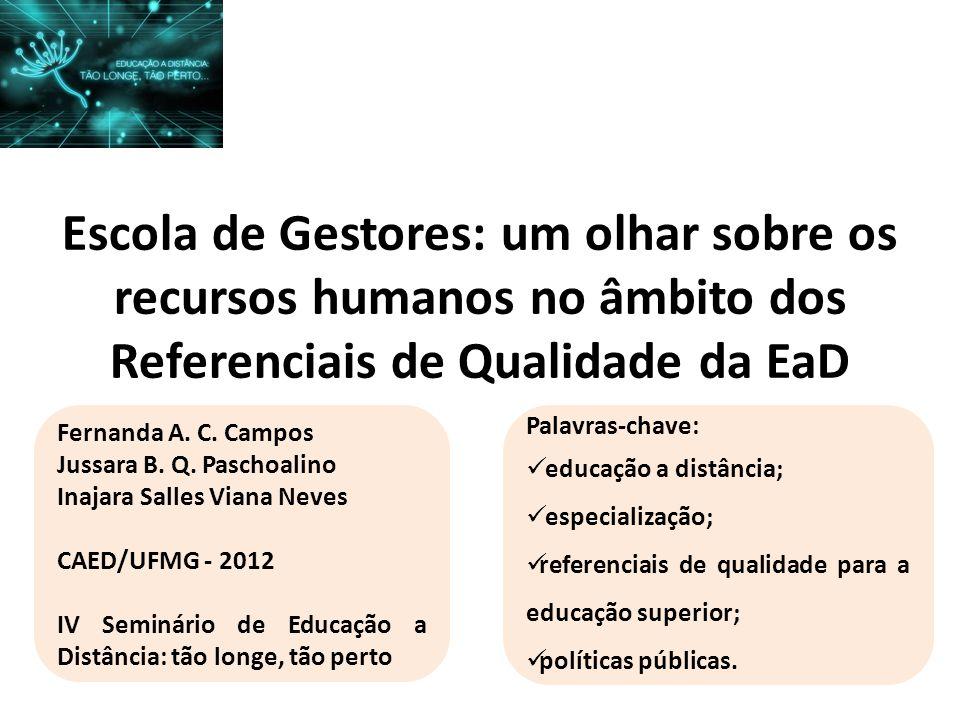 Escola de Gestores: um olhar sobre os recursos humanos no âmbito dos Referenciais de Qualidade da EaD Fernanda A. C. Campos Jussara B. Q. Paschoalino