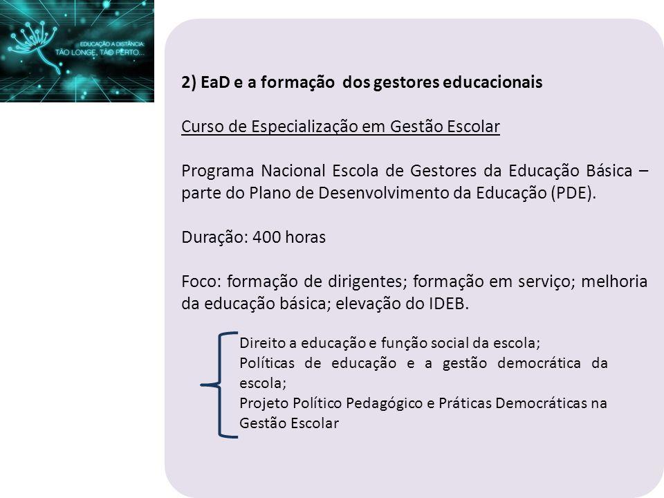 2) EaD e a formação dos gestores educacionais Curso de Especialização em Gestão Escolar Programa Nacional Escola de Gestores da Educação Básica – part