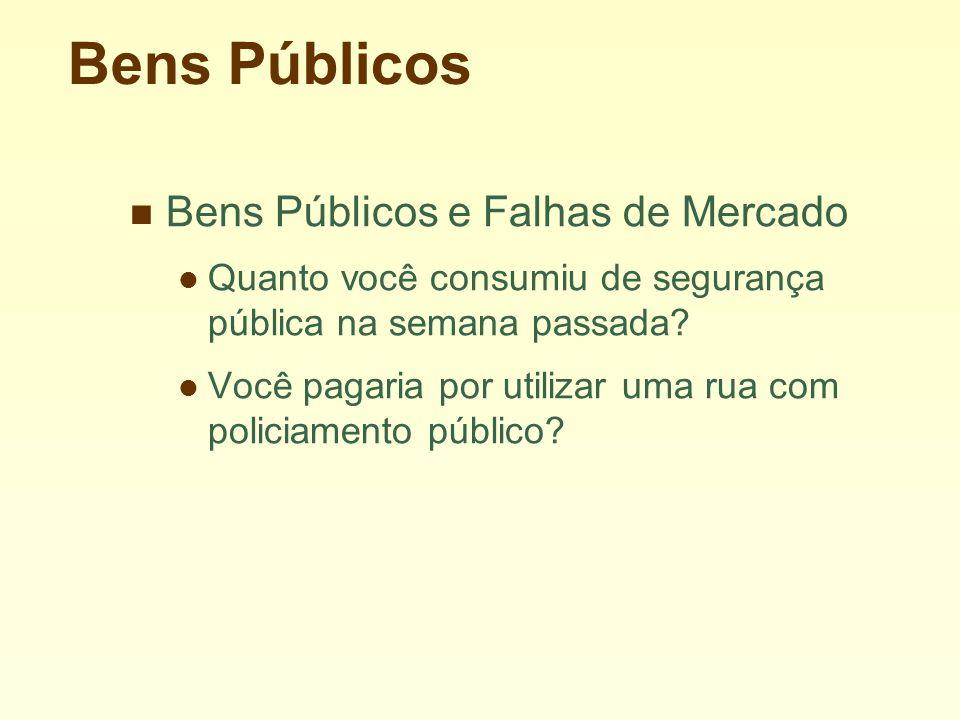 Bens Públicos Bens Públicos e Falhas de Mercado Quanto você consumiu de segurança pública na semana passada.