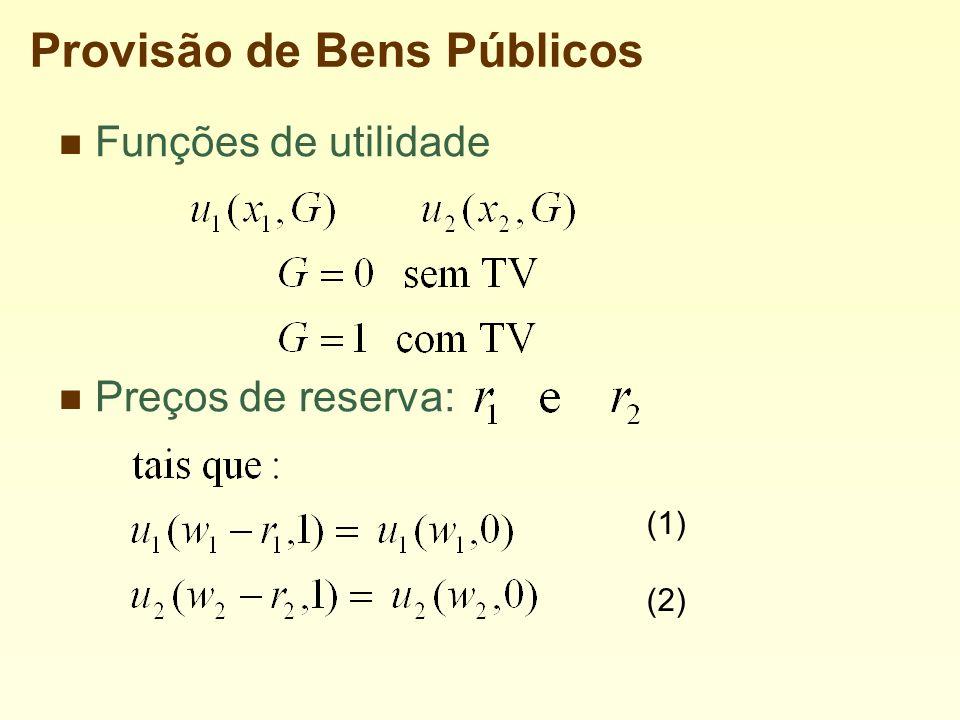 Provisão de Bens Públicos Funções de utilidade Preços de reserva: (1) (2)