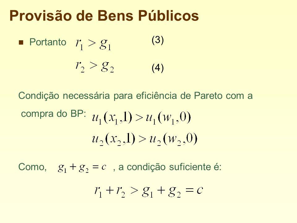 Provisão de Bens Públicos Portanto Condição necessária para eficiência de Pareto com a compra do BP: Como,, a condição suficiente é: (3) (4)