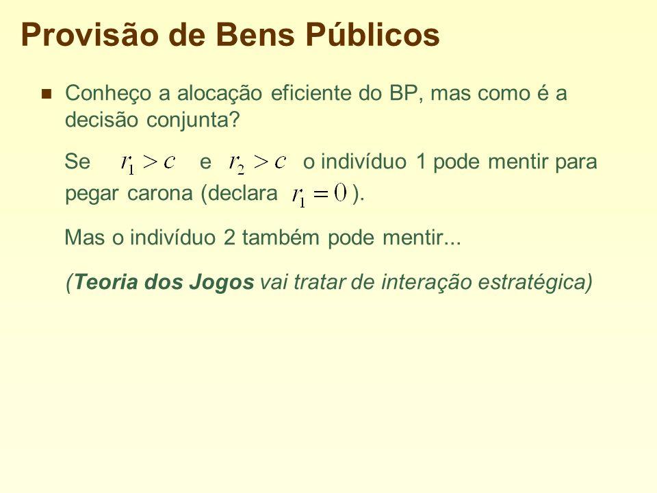 Provisão de Bens Públicos Conheço a alocação eficiente do BP, mas como é a decisão conjunta.