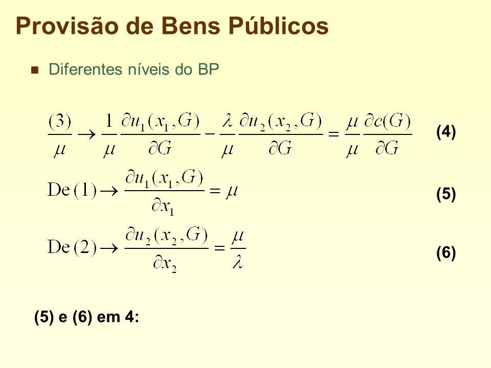 Provisão de Bens Públicos Diferentes níveis do BP (4) (5) (6) (5) e (6) em 4: