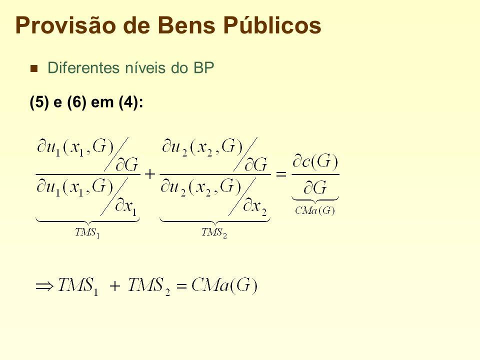 Provisão de Bens Públicos Diferentes níveis do BP (5) e (6) em (4):