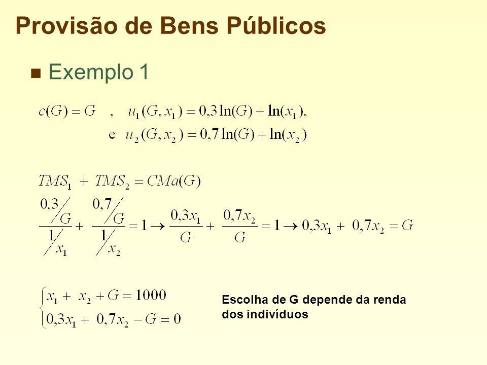 Provisão de Bens Públicos Exemplo 1 Escolha de G depende da renda dos indivíduos