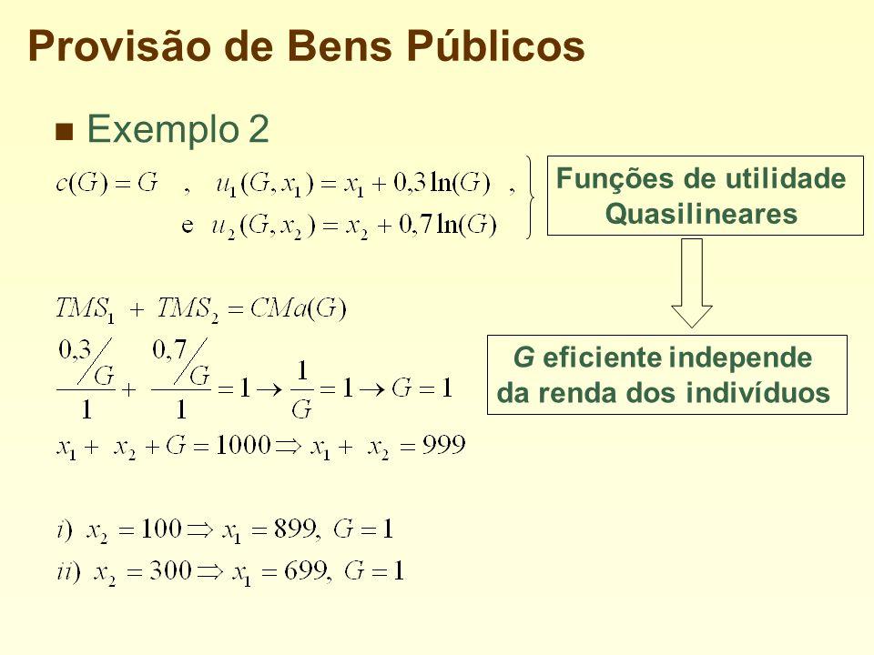 Provisão de Bens Públicos Exemplo 2 G eficiente independe da renda dos indivíduos Funções de utilidade Quasilineares