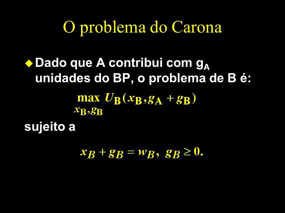 O problema do Carona u Dado que A contribui com g A unidades do BP, o problema de B é: sujeito a