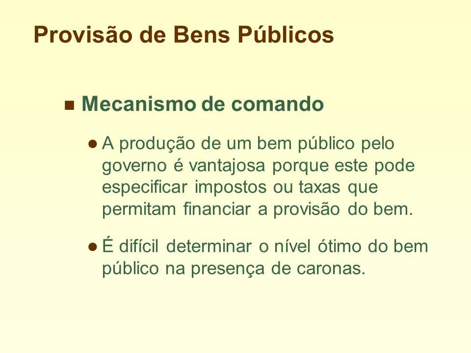 Provisão de Bens Públicos Mecanismo de comando A produção de um bem público pelo governo é vantajosa porque este pode especificar impostos ou taxas que permitam financiar a provisão do bem.