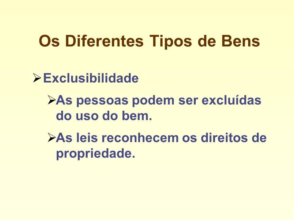 Os Diferentes Tipos de Bens Exclusibilidade As pessoas podem ser excluídas do uso do bem.