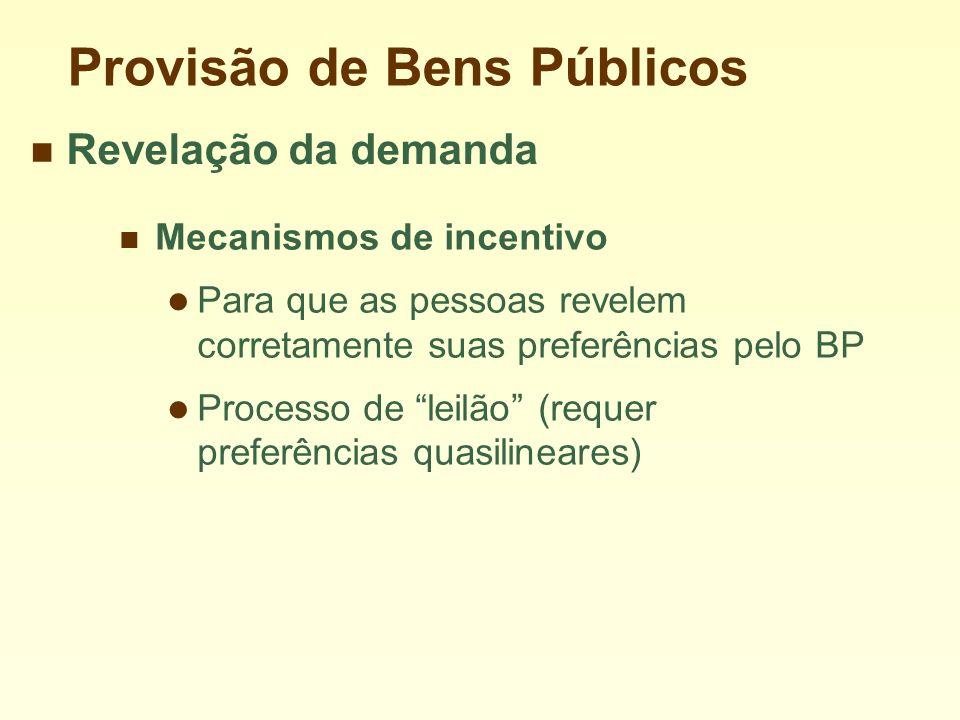 Provisão de Bens Públicos Mecanismos de incentivo Para que as pessoas revelem corretamente suas preferências pelo BP Processo de leilão (requer preferências quasilineares) Revelação da demanda