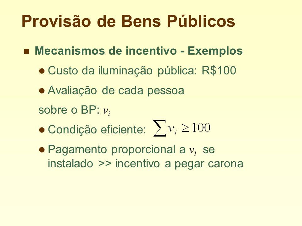 Provisão de Bens Públicos Mecanismos de incentivo - Exemplos Custo da iluminação pública: R$100 Avaliação de cada pessoa sobre o BP: v i Condição eficiente: Pagamento proporcional a v i se instalado >> incentivo a pegar carona