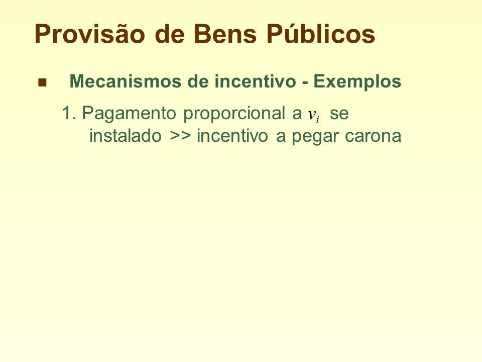 Provisão de Bens Públicos Mecanismos de incentivo - Exemplos 1.