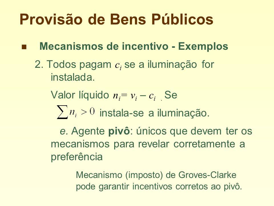 Provisão de Bens Públicos Mecanismos de incentivo - Exemplos 2.