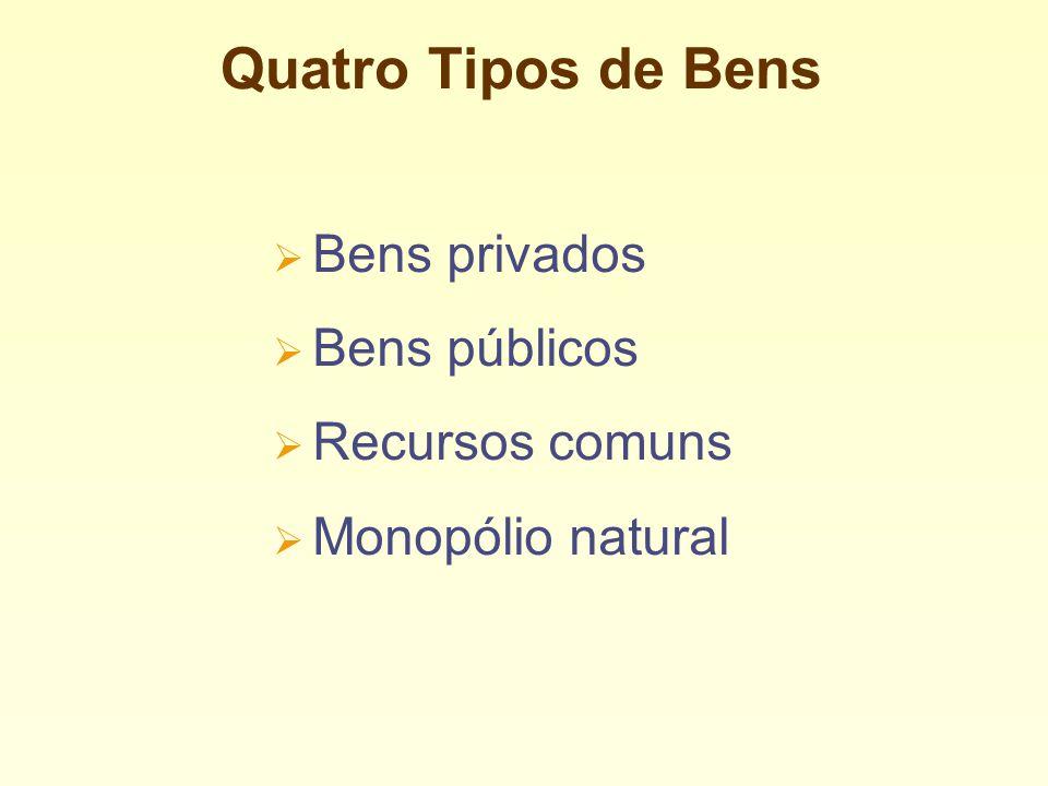 Quatro Tipos de Bens Bens privados Bens públicos Recursos comuns Monopólio natural