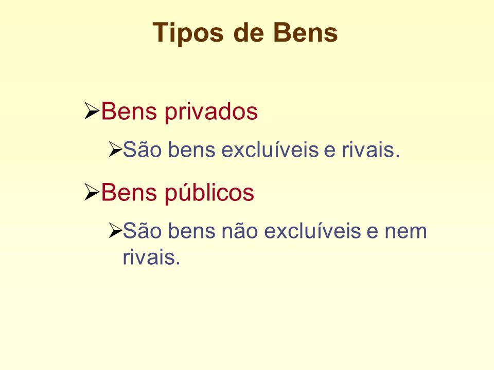 Tipos de Bens Bens privados São bens excluíveis e rivais.