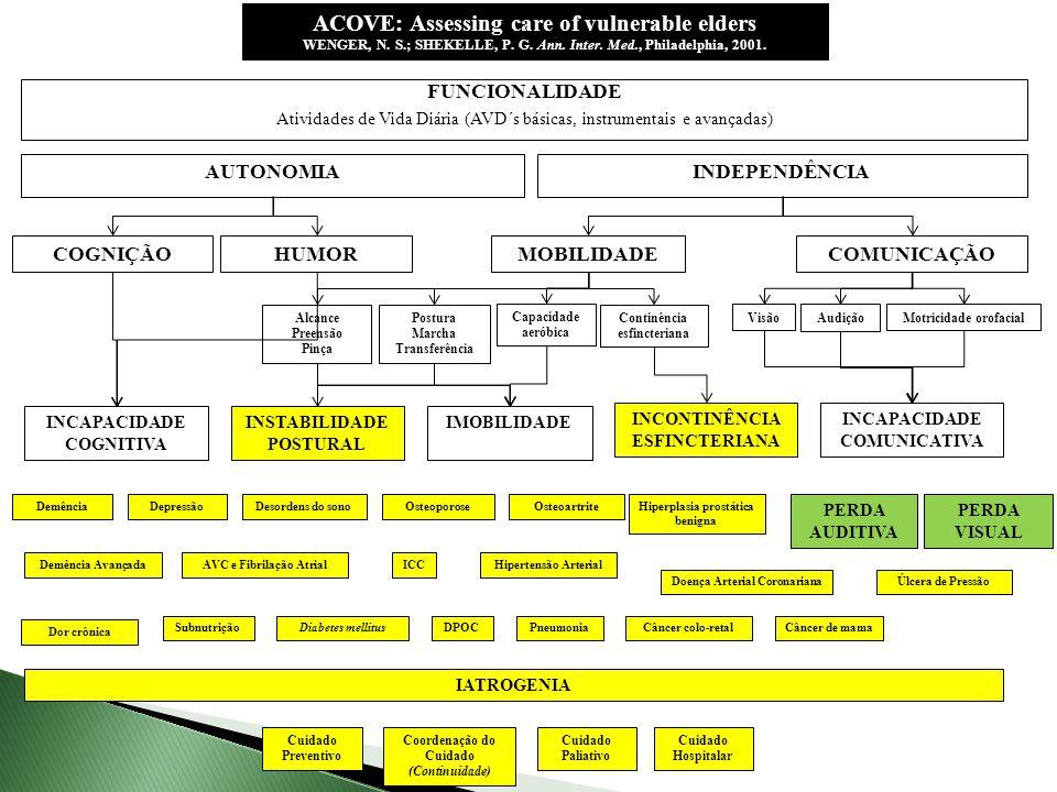 AUTONOMIAINDEPENDÊNCIA FUNCIONALIDADE Atividades de Vida Diária (AVD´s básicas, instrumentais e avançadas) COGNIÇÃOHUMORMOBILIDADECOMUNICAÇÃO Capacida