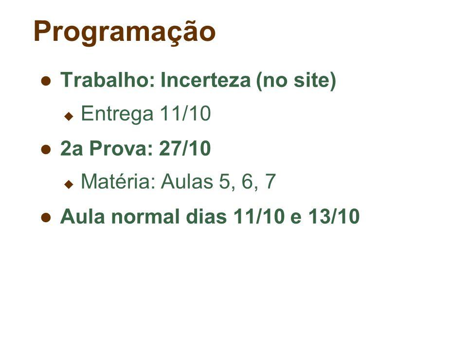 Programação Trabalho: Incerteza (no site) Entrega 11/10 2a Prova: 27/10 Matéria: Aulas 5, 6, 7 Aula normal dias 11/10 e 13/10