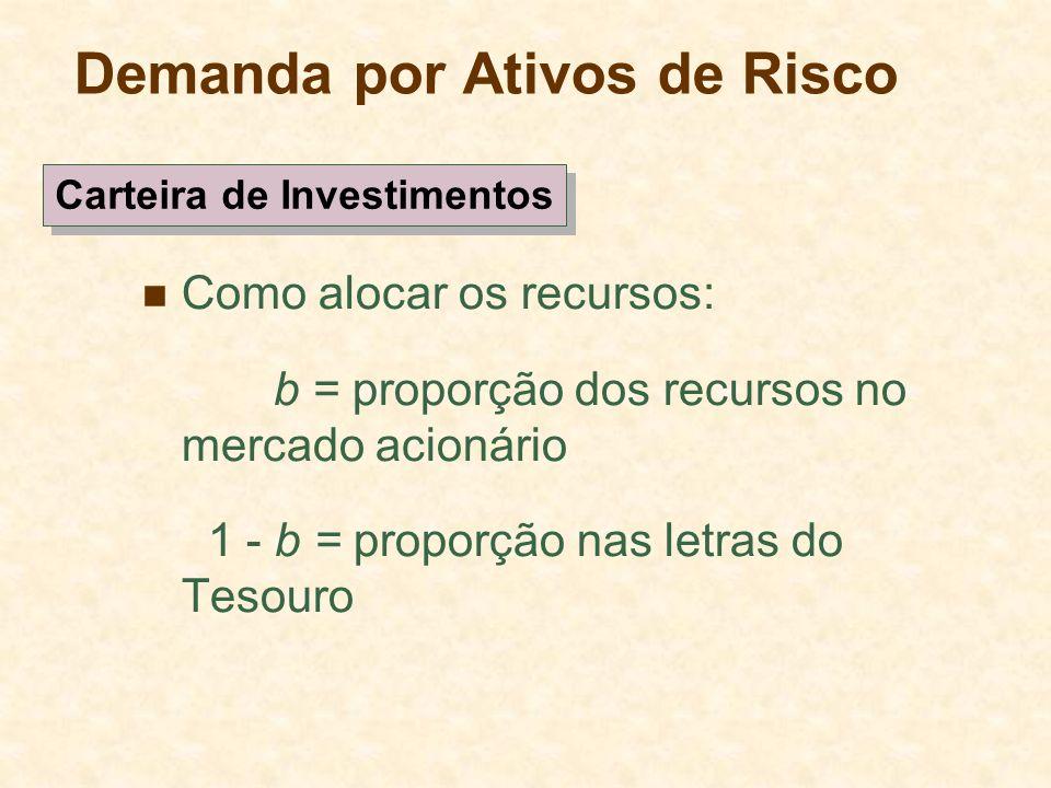 Demanda por Ativos de Risco Como alocar os recursos: b = proporção dos recursos no mercado acionário 1 - b = proporção nas letras do Tesouro Carteira