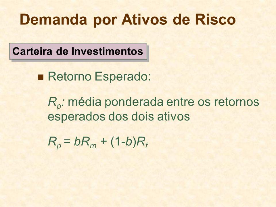 Demanda por Ativos de Risco Retorno Esperado: R p : média ponderada entre os retornos esperados dos dois ativos R p = bR m + (1-b)R f Carteira de Inve