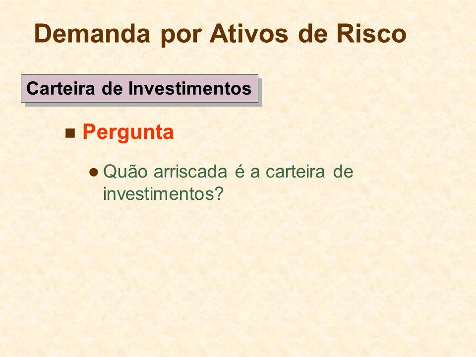 Demanda por Ativos de Risco Pergunta Quão arriscada é a carteira de investimentos? Carteira de Investimentos