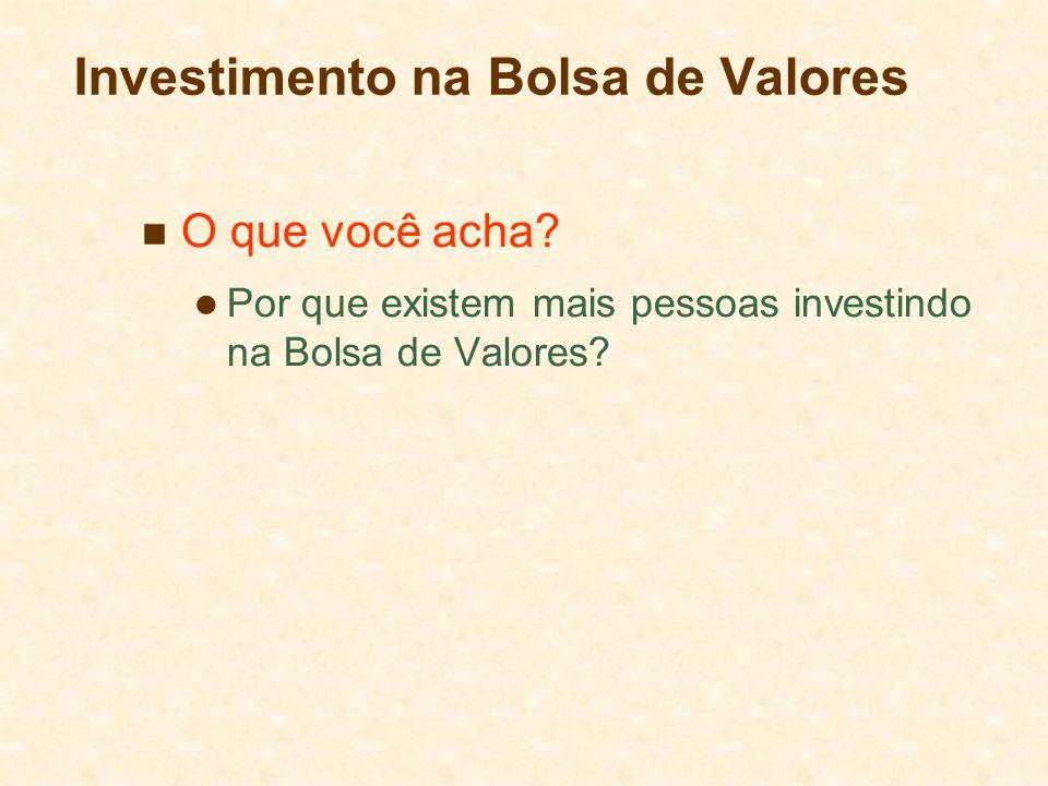 Investimento na Bolsa de Valores O que você acha? Por que existem mais pessoas investindo na Bolsa de Valores?