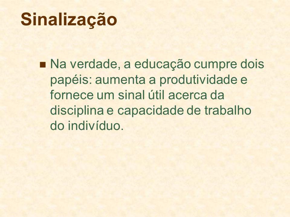 Sinalização Na verdade, a educação cumpre dois papéis: aumenta a produtividade e fornece um sinal útil acerca da disciplina e capacidade de trabalho d
