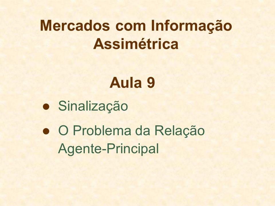 Mercados com Informação Assimétrica Sinalização O Problema da Relação Agente-Principal Aula 9