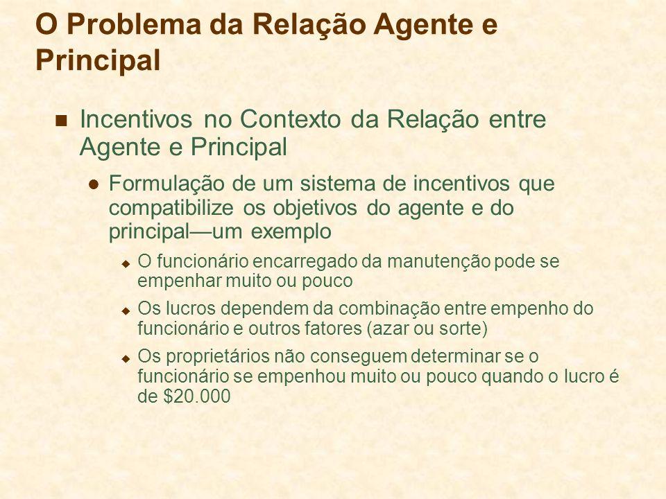 O Problema da Relação Agente e Principal Incentivos no Contexto da Relação entre Agente e Principal Formulação de um sistema de incentivos que compati