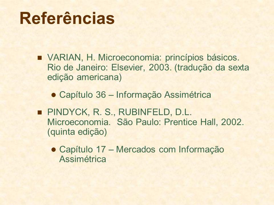 Referências VARIAN, H. Microeconomia: princípios básicos. Rio de Janeiro: Elsevier, 2003. (tradução da sexta edição americana) Capítulo 36 – Informaçã