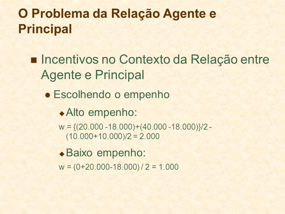 O Problema da Relação Agente e Principal Incentivos no Contexto da Relação entre Agente e Principal Escolhendo o empenho Alto empenho: w = {(20.000 -1