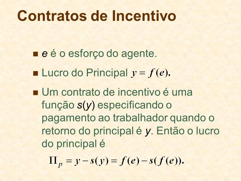 Contratos de Incentivo e é o esforço do agente. Lucro do Principal Um contrato de incentivo é uma função s(y) especificando o pagamento ao trabalhador