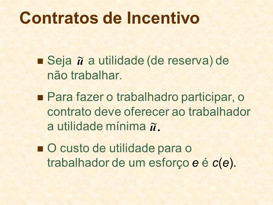 Contratos de Incentivo Seja a utilidade (de reserva) de não trabalhar. Para fazer o trabalhadro participar, o contrato deve oferecer ao trabalhador a