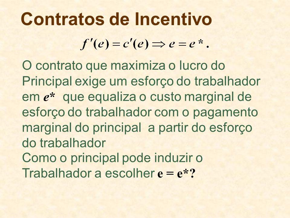 Contratos de Incentivo Como o principal pode induzir o Trabalhador a escolher e = e*? O contrato que maximiza o lucro do Principal exige um esforço do