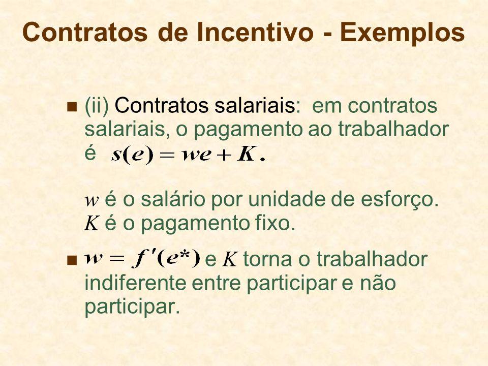 (ii) Contratos salariais: em contratos salariais, o pagamento ao trabalhador é w é o salário por unidade de esforço. K é o pagamento fixo. e K torna o