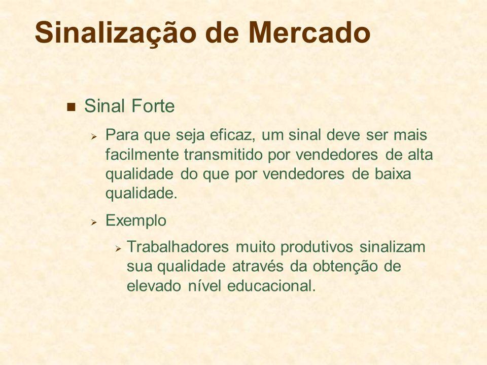 Sinalização de Mercado Sinal Forte Para que seja eficaz, um sinal deve ser mais facilmente transmitido por vendedores de alta qualidade do que por ven