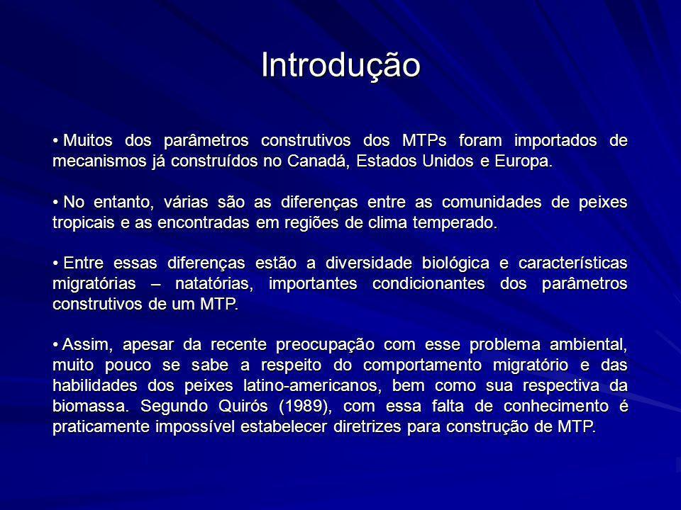 Introdução Muitos dos parâmetros construtivos dos MTPs foram importados de mecanismos já construídos no Canadá, Estados Unidos e Europa. Muitos dos pa