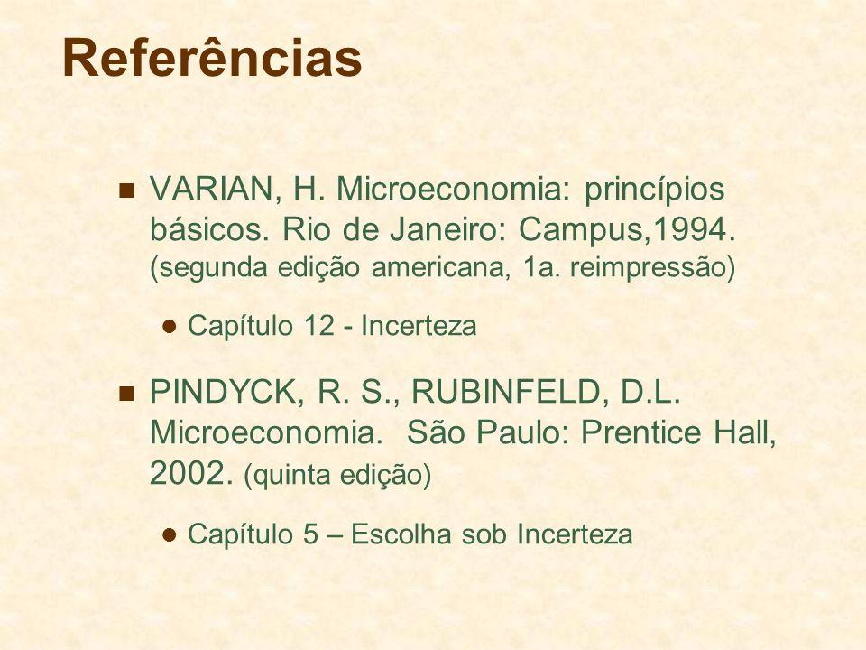 Referências VARIAN, H. Microeconomia: princípios básicos. Rio de Janeiro: Campus,1994. (segunda edição americana, 1a. reimpressão) Capítulo 12 - Incer