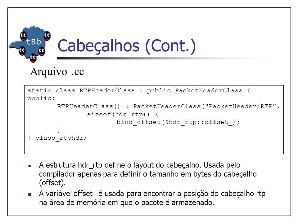 Como Criar Um Novo Cabeçalho Criar a estrutura do cabeçalho Permitir tracing do novo cabeçalho (packet.h) enum packet_t { PT_TCP, …, PT_MESSAGE, PT_NTYPE // This MUST be the LAST one }; class p_info { …… name_[PT_MESSAGE] = message; name_[PT_NTYPE]= undefined ; …… };