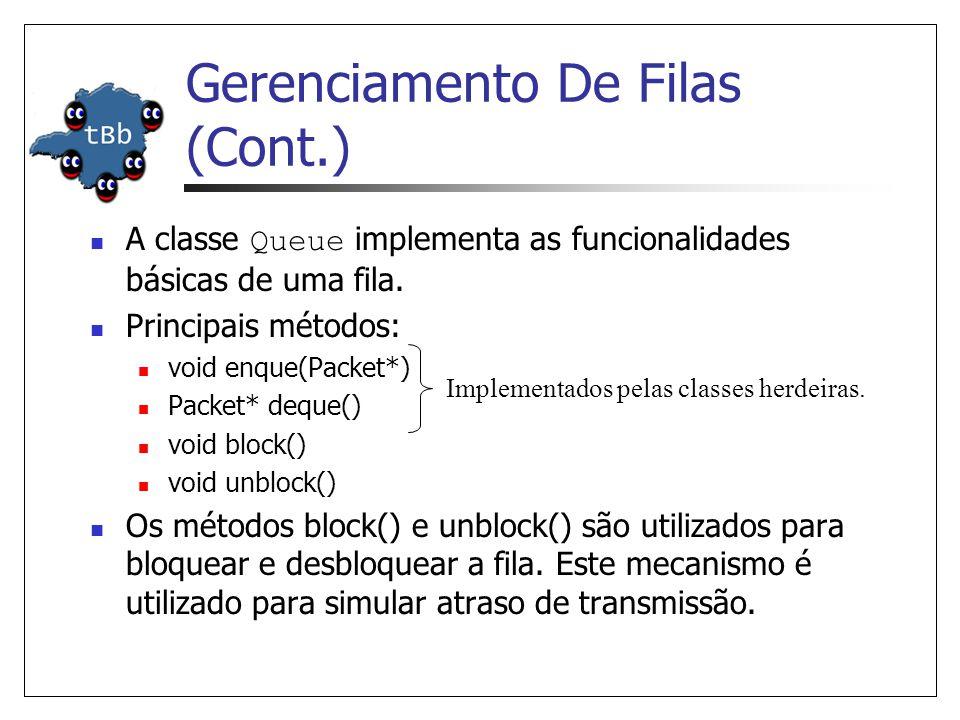 Gerenciamento De Filas (Cont.) O ns disponibiliza diferentes tipos de fila: DropTail; Fair Queueing (FQ), Stochastic Fair Queueing (SFQ) e Deficit Round Robin (DRR); Gerenciamento de buffer RED; Class-Based Queueing (CBQ) e CBQ/WRR (Weighted Round- Robin).