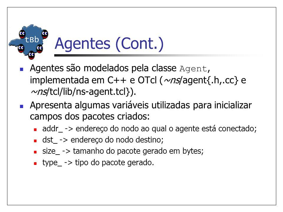 Agentes (Cont.) A classe Agent provê métodos para geração e recebimento de pacotes: Packet* allocpkt() -> aloca um novo pacote e inicializa seus campos.