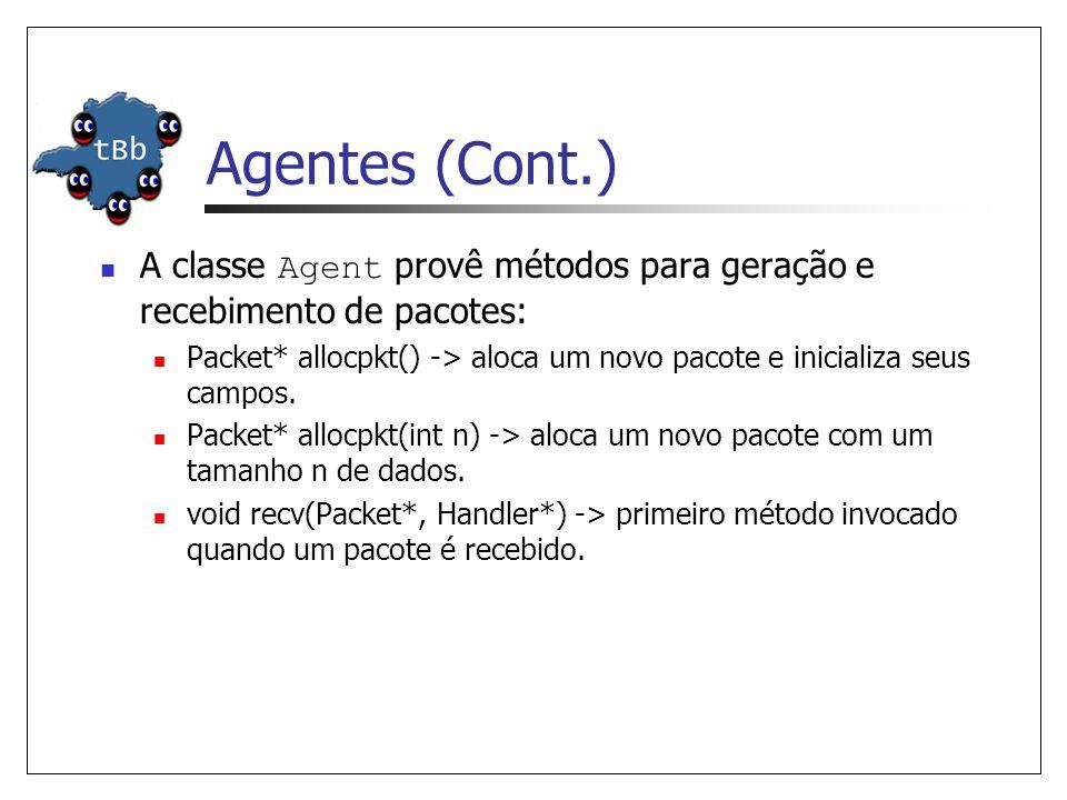 Agentes (Cont.) 0 1 n0n1 Addr Classifier Port Classifier classifier_ dmux_ entry_ 0 Agent/TCP agents_ Addr Classifier Port Classifier classifier_ dmux_ entry_ 1 0 Link n0-n1 Link n1-n0 0 Agent/TCPSink agents_ dst_=1.0 dst_=0.0