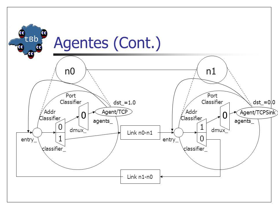 Utilizando Agentes Cria-se agente emissor e o conecta ao nodo fonte: Cria-se agente receptor e o conecta ao nodo sorvedouro: Conectam-se os agentes emissor e receptor: set tcpSource [new Agent/TCP] $ns attach-agent $n0 $tcpSource set tcpSink [new Agent/TCPSink] $ns attach-agent $n1 $tcpSink $ns connect $tcpSource $tcpSink