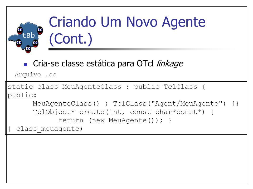 Criando Um Novo Agente (Cont.) Inserir valores default para as variáveis do agente.